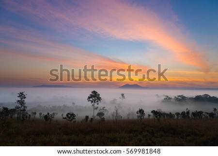Mountain and sea of fog landscape view on sunrise with colorful twilight on sky.