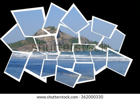 Mountain and Sea with Collage Effect Isolated on Black Background - stock photo