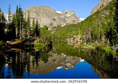 Mountain and Trees Reflected in Alpine Lake. The Loch, Rocky Mountain National Park, Colorado - stock photo