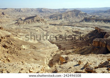 Mountain area near crater Ramon in Negev desert, Israel                                - stock photo