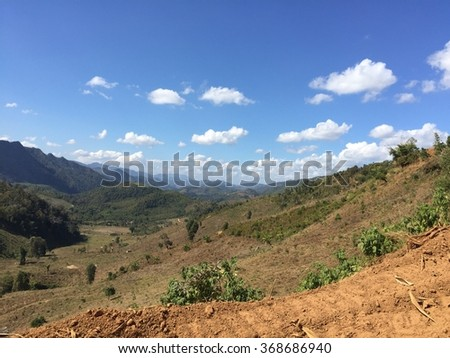 Mountain at north of Thailand is dry and no big forest because people use land for grow corn and rice