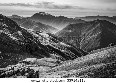 Mountain autumn landscape in black and white. - stock photo