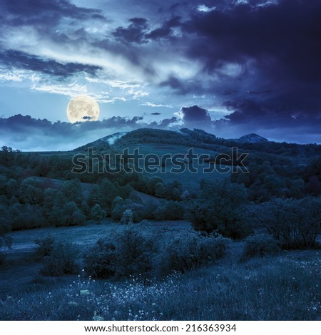 mountain autumn landscape. trees near meadow and forest on hillside under  sky with clouds at night in full moon light - stock photo