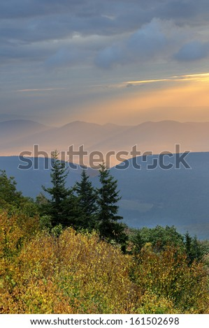 Mountain Autumn Sunrise - stock photo