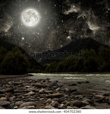mountain. backgrounds night sky with stars and moon and clouds.  Elements of this image furnished by NASA - stock photo