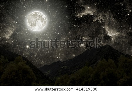 mountain. backgrounds night sky with stars, moon and clouds.  Elements of this image furnished by NASA - stock photo