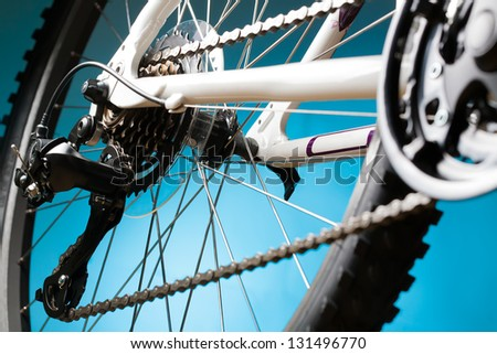 mountain bike cassette on the wheel with chain - stock photo