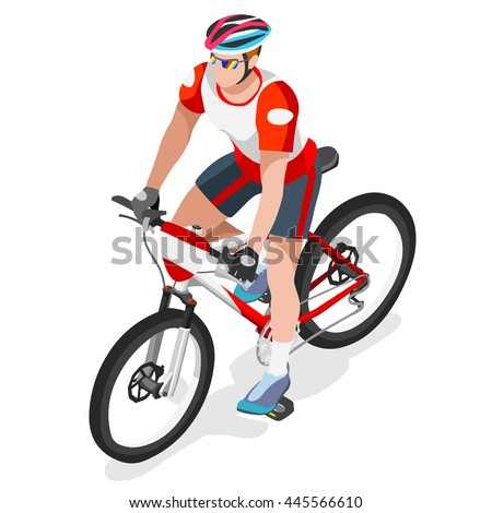 Mountain Bike Cyclist Bicyclist Athletes 2016 Summer Games Brasil.3D Isometric Athlete.Sporting Championship International Competition.Brazil Sport Infographic Mountain Bike Race olympics Image