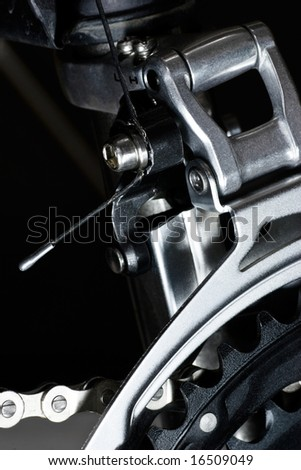 Mountain bike  front derailleur close-up - stock photo