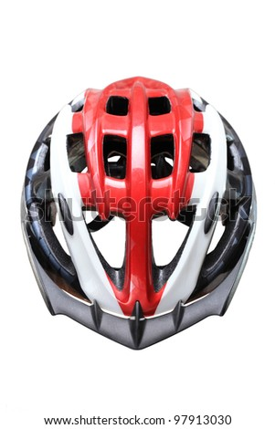mountain bike helmet, isolated on white background - stock photo
