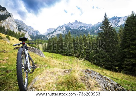 mountain bike in a mountain landscape