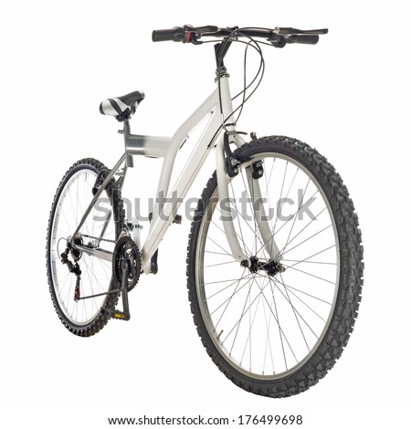 mountain bike isolated on white background, frontal view  - stock photo