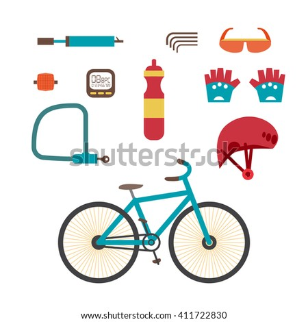 Mountain bike kit. Set riding bikes isolated on white background. Set of equipment for cycling on Mountain bike. Set infographic flat design element