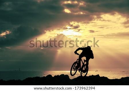 mountain bike racers - stock photo