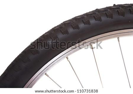 Mountain bike tire isolated on white background - stock photo