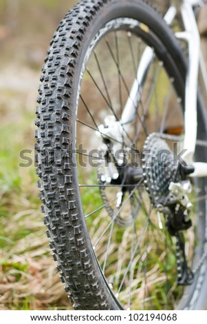 Mountain bike tire with shifting system - stock photo