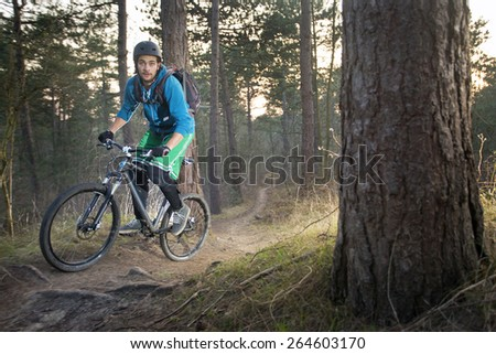 Mountain biker cycling over an off road trail through the woods in the late afternoon - stock photo
