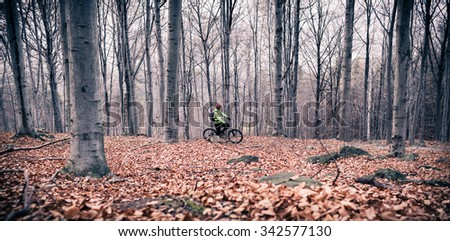 Mountain biker on cycle trail in woods. Mountains in winter or autumn landscape forest. Man cycling MTB on rural country road. Sport fitness motivation and inspirational panoramic landscape. - stock photo