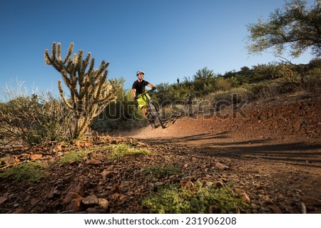 Mountain Biker on Desert Trail Next to Cactus - stock photo