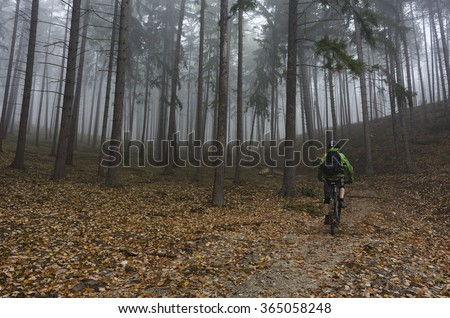 Mountain biker riding in foggy forest - stock photo