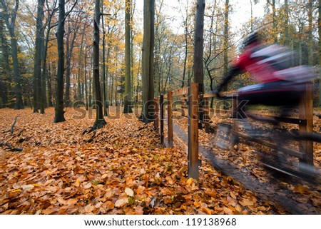 Mountain bikers, cyclist, speeding and crossing a bridge in beautifully colored autumn woods filled with fog, unrecognizable by motion blur - stock photo