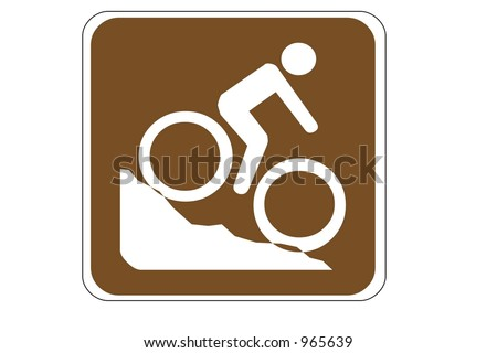 Mountain Biking Area Recreational Sign isolated on a white background