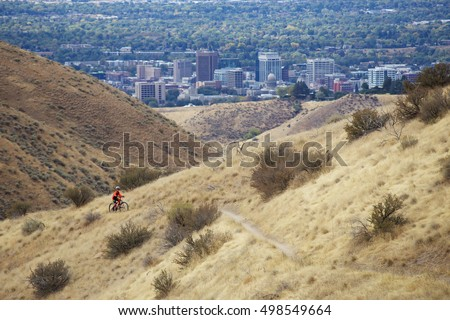 Mountain biking in the foothills above downtown Boise, Idaho