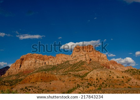 mountain breathtaking landscape zion national park utah with blue sky in the background - stock photo