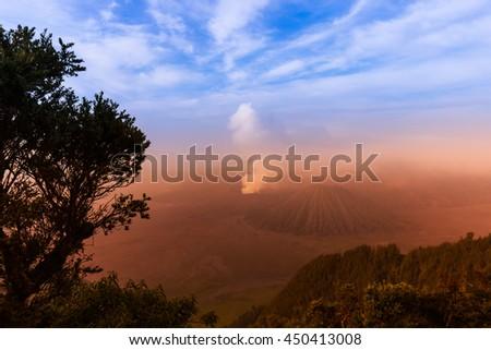 Mountain Bromo volcano on island Java - Indonesia- travel and nature background - stock photo