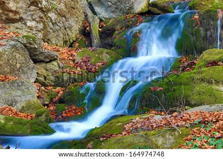 mountain brook in autumn time - stock photo