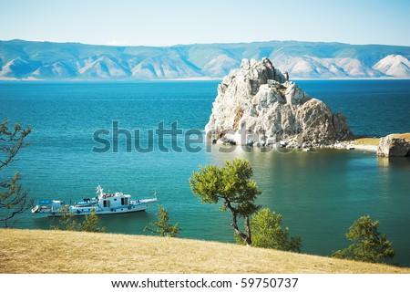 Mountain Burhan lake Baikal - stock photo