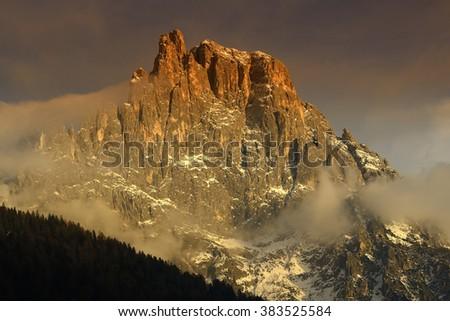 Mountain Campanili di Val di Roda at sunset, mountain group Pale di San Martino, Dolomite mountains - Italy, Europe, UNESCO World Heritage Site - stock photo