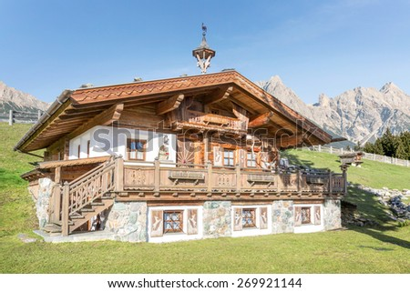 Mountain Chalet in the alps - stock photo