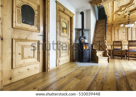 mountain chalet wooden interior