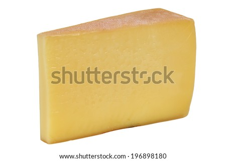 Mountain cheese from Switzerland or Austria, isolated on a white background