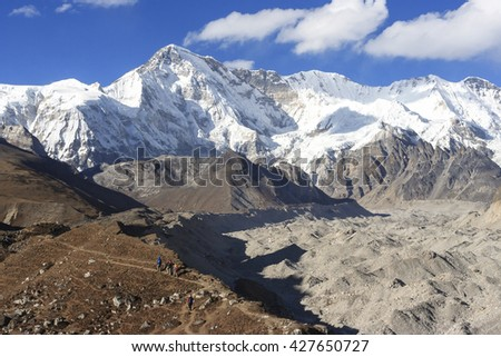 Mountain Cho Oyu and Ngozumba glacier. Sagarmatha national park. Nepal.