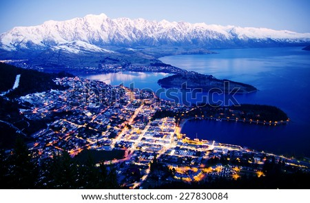 Mountain Cityscape Lake Beautiful Travel Destinations Concept - stock photo