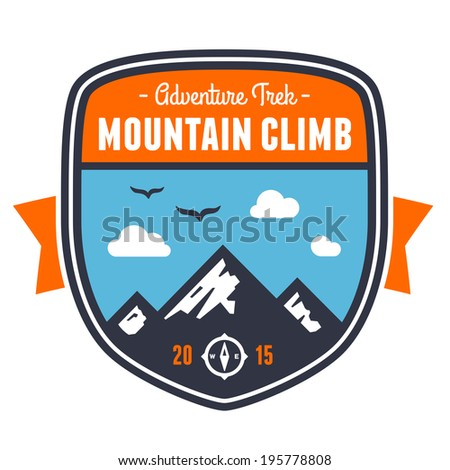 Mountain climbing adventure badge graphic design emblem - stock photo