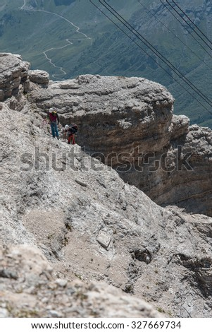 Mountain climbing - Dolomites - stock photo