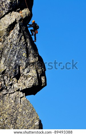Mountain climbing in National Park Retezat, Romania - stock photo
