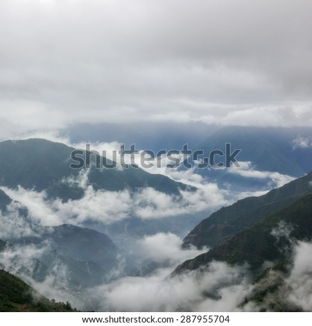 Mountain clouds background