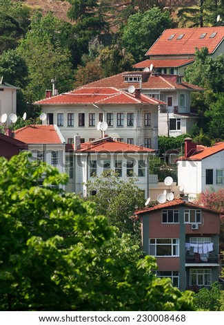 Mountain country residence in Turkey. Istanbul - stock photo