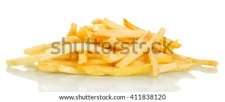 Mountain crispy French fries close-up isolated on white background.