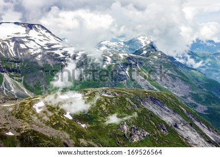 Mountain Dalsnibba landscape, Geiranger fjord, Norway.