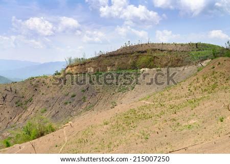 Mountain destroyed by human for cultivate plants. - stock photo