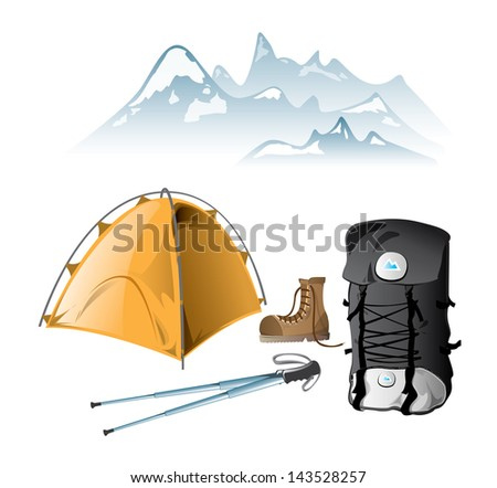 Mountain equipment, boot, walking poles, rucksack, tent, mountain on the background