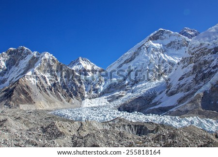 Mountain Everest glacier and base camp - stock photo