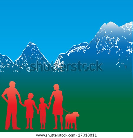 Mountain Family Travel Bitmap Background