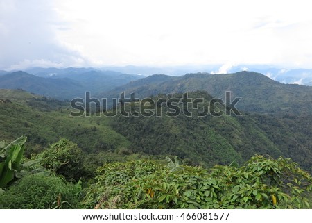 Mountain, forest and fog landscape, view from Kyaiktiyo pagoda in Mon state, Myanmar