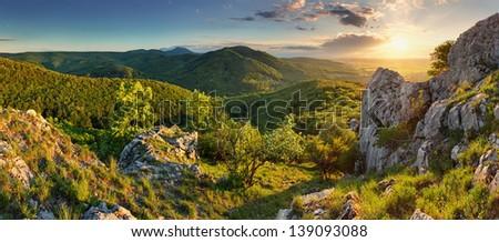 Mountain forest panorama at sunset - Slovakia - stock photo